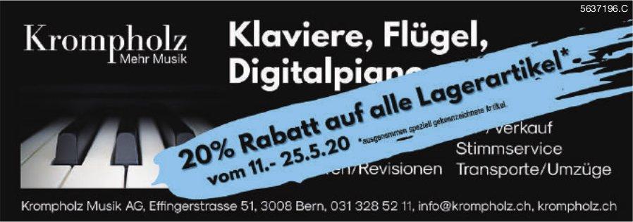 Krompholz Musik AG, Bern - 20% Rabatt auf alle Lagerartikel