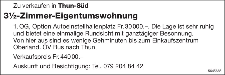 3½-Zimmer-Eigentumswohnung, Thun, zu verkaufen