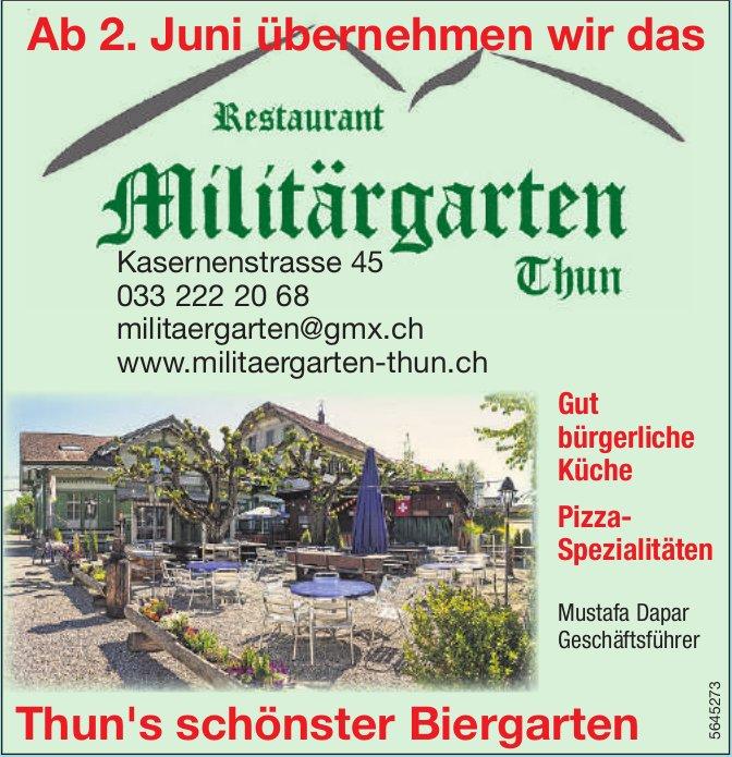 Ab 2. Juni übernehmen wir das Restaurant Militärgarten Thun