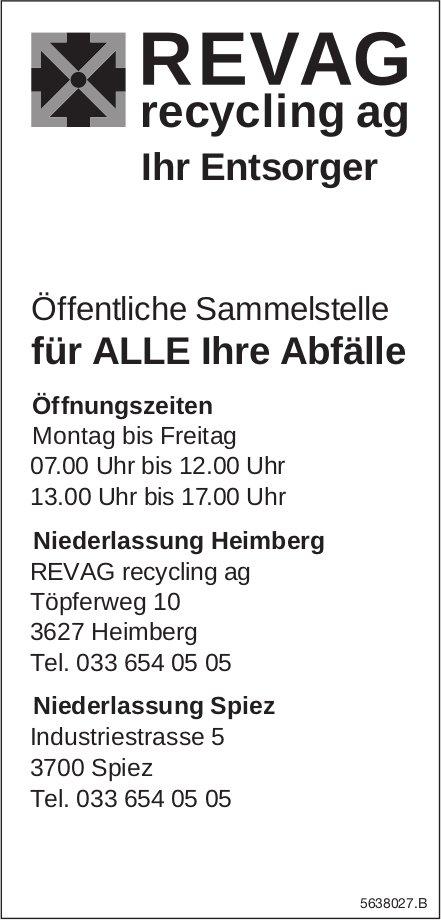 Revag recycling ag, Heimberg - Öffentliche Sammelstelle für alle Ihre Abfälle