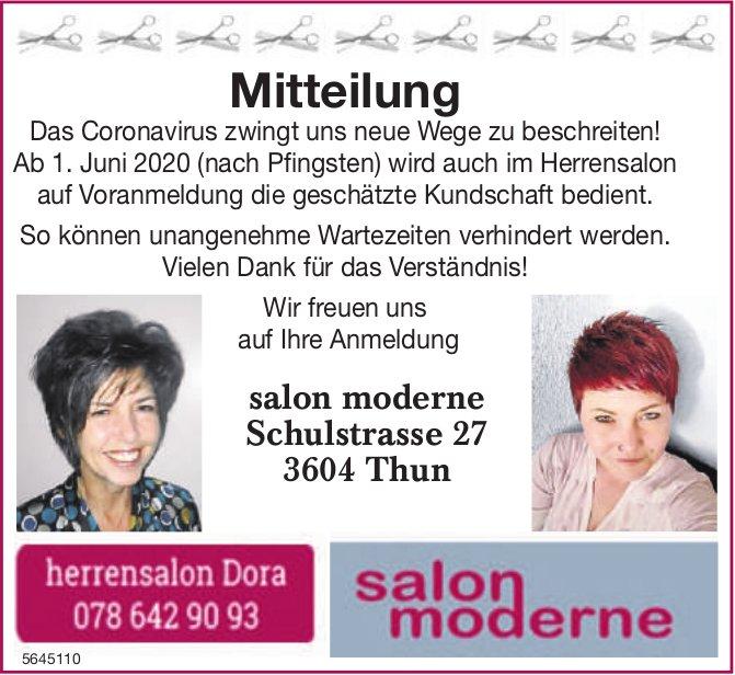 Salon Moderne,  Thun - Ab 1. Juni auch im Herrensalon auf Voranmeldung