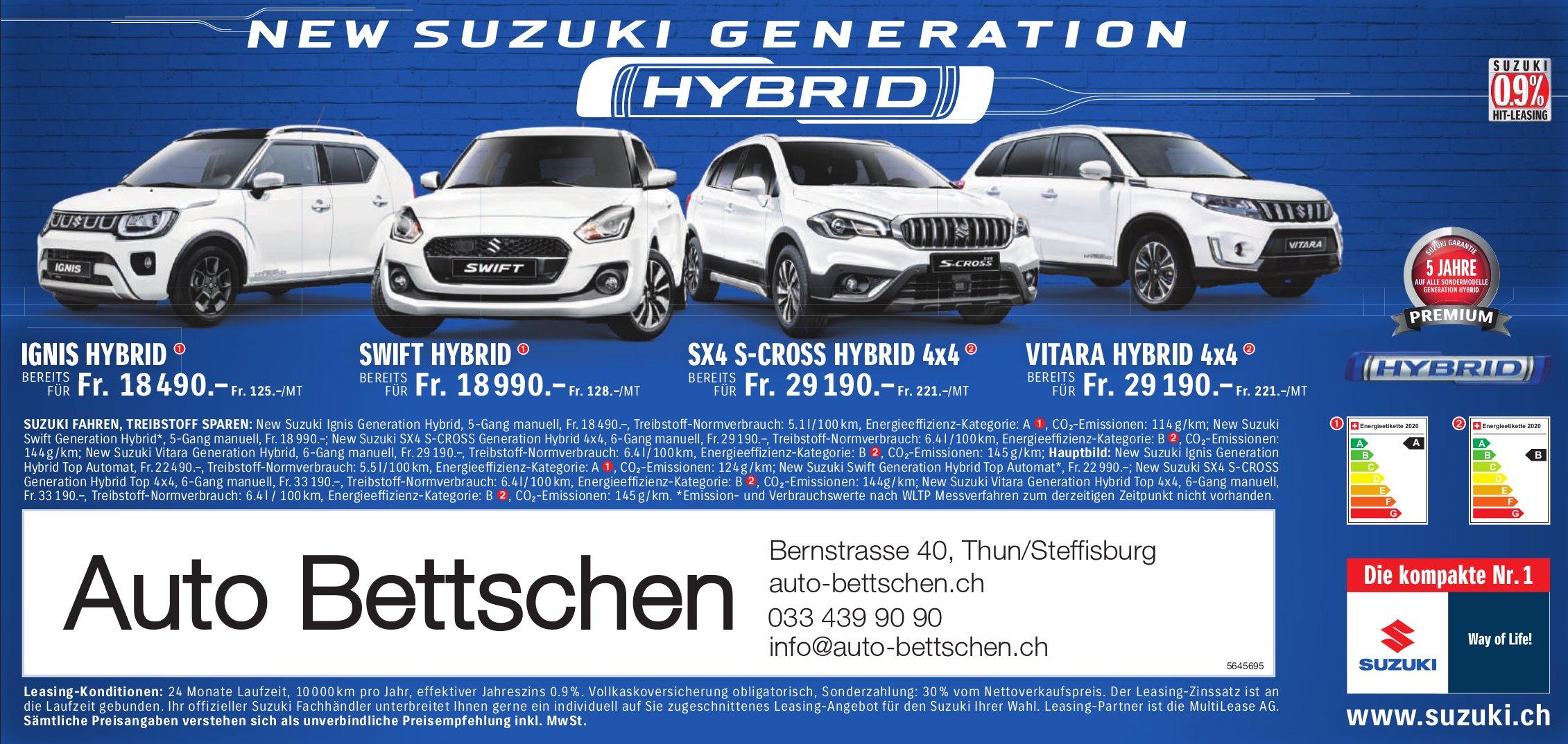 Auto Bettschen, Thun/Steffisburg - New Suzuki Generation Hybrid