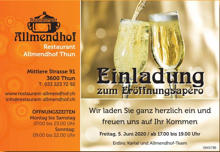 Einladung zum Eröffnungsapéro am 5. Juni, Restaurant Allmendhof