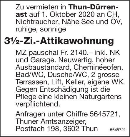 3½-Zi.-Attikawohnung, Thun-Dürrenast, zu vermieten
