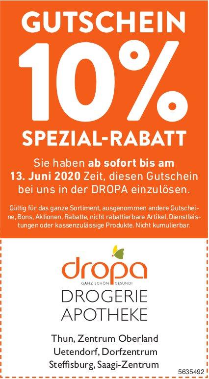 Gutschein 10% Spezial-Rabatt bis 13. Juni, Drogerie Apotheke Dropa