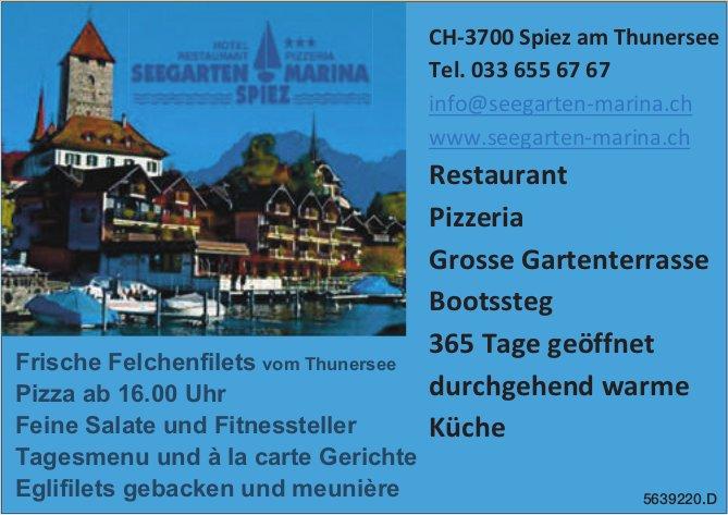 Seegarten Marina Spiez - Frische Felchenfilets vom Thunersee,  Tagesmenu und à la carte Gerichte