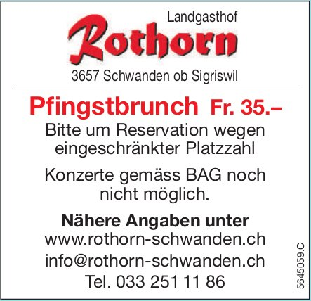 Pfingstbrunch Fr. 35.–, Landgasthof Rothorn, Schwanden ob Sigriswil