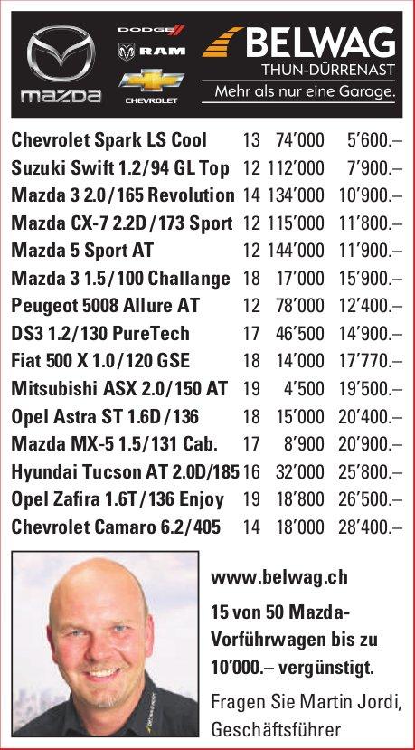 BELWAG, 15 von 50 Mazda-Vorführwagen bis zu 10'000.– vergünstigt.