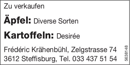 Frederic Krähenbühl, Steffisburg - Äpfel/ Kartoffeln zu verkaufen