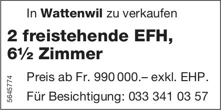 2 freistehende EFH, 6½ Zimmer, Wattenwil, zu verkaufen