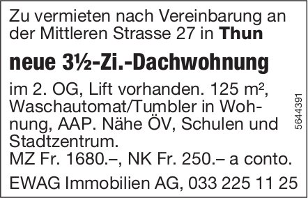 Neue 3½-Zi.-Dachwohnung, Thun, zu vermieten