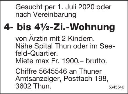 4- bis 4½-Zi.-Wohnung, Thun, zu mieten gesucht