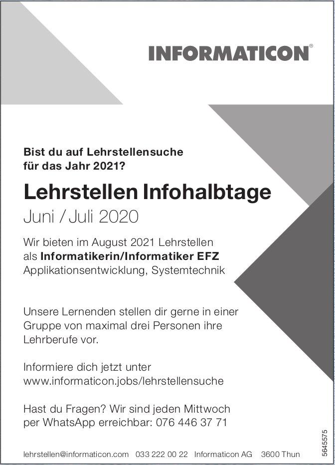 Lehrstellen Infohalbtage, Juni/Juli, Informaticon AG