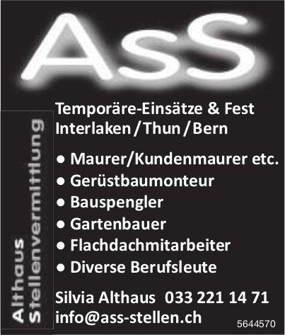 Althaus Stellenvermittlung, Interlaken/Thun/Bern - Temporäre-Einsätze & Fest