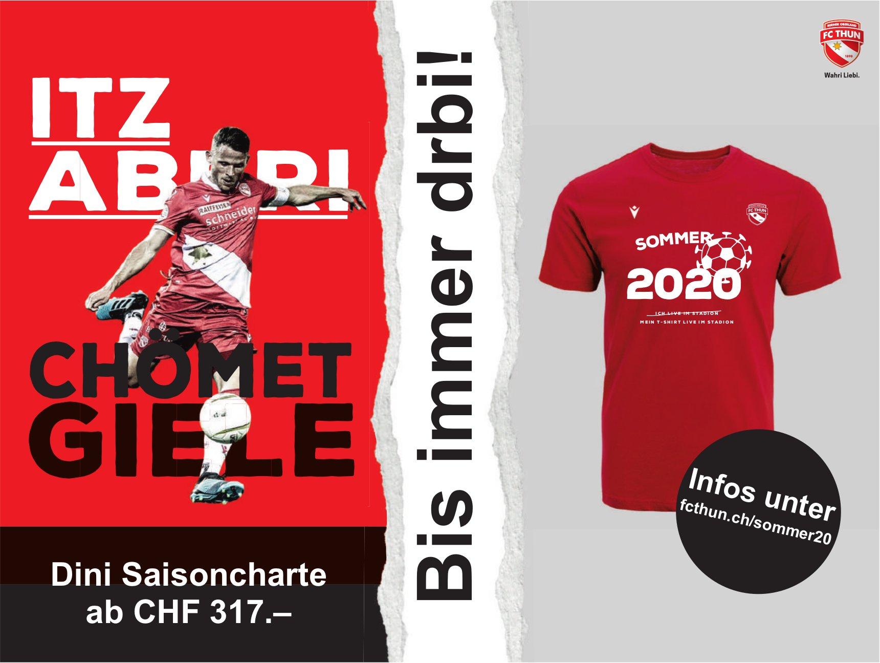 FC Thun - Dini Saisoncharte ab Chf 317.– Bis immer drbi!