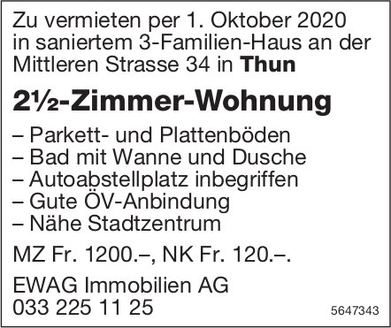 2.5 Zimmer-Wohnung, Thun, zu vermieten