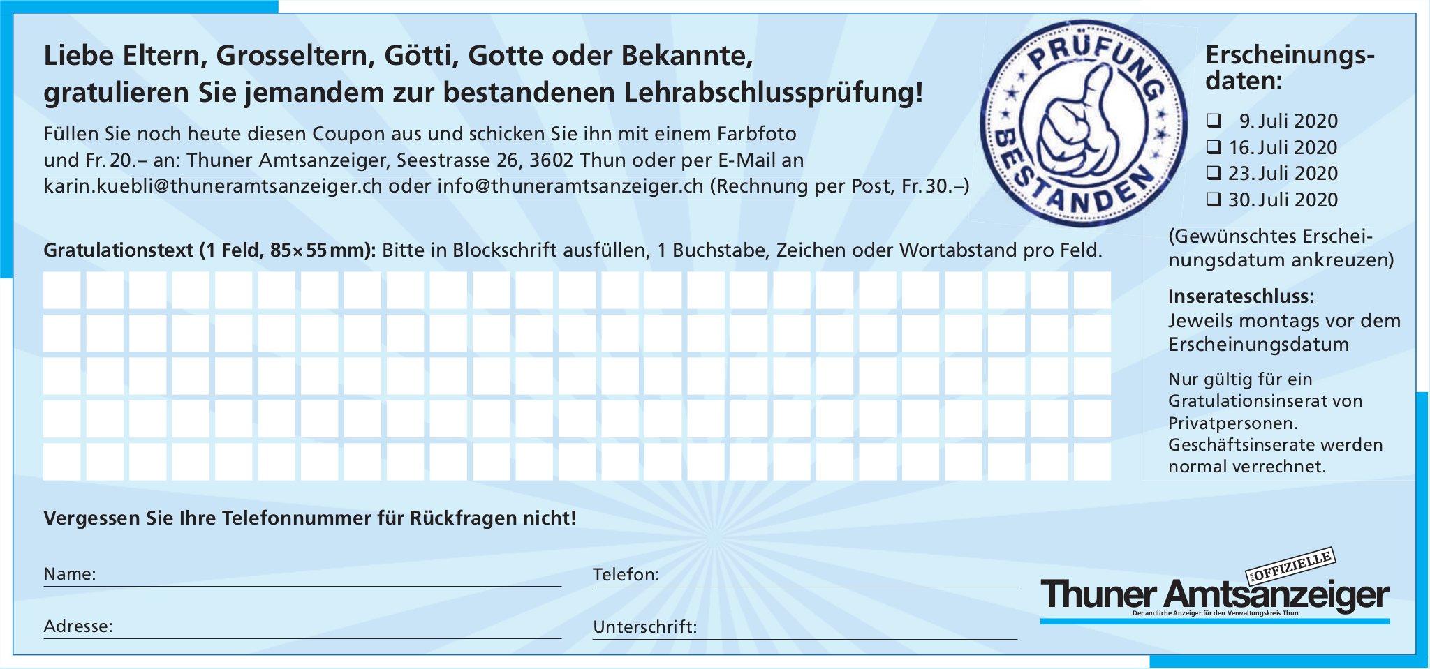 Thuner Amtsanzeiger - Gratulieren Sie jemandem zur bestandenen Lehrabschlussprüfung!