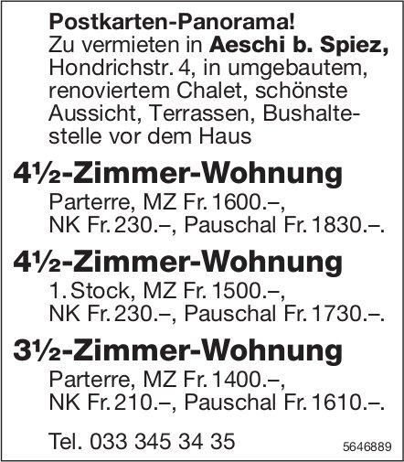 3.5- und 4.5-Zimmer-Wohnung, Aeschi b. Spiez, zu vermieten