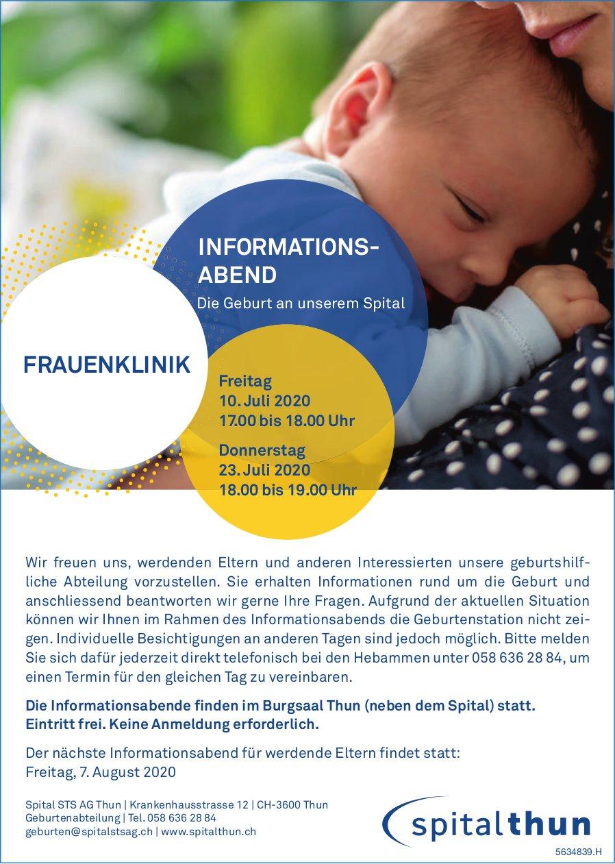 """Informations- Abend """"Die Geburt an unserem Spital"""", 10. + 23. Juli, Frauenklinik Spital STS Thun"""