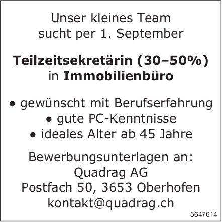 Teilzeitsekretärin (30–50%) in Immobilienbüro, Quadrag AG, Oberhofen, gesucht