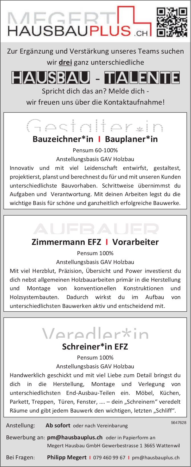 Hausbau - Talente, Megert Hausbau GmbH, Wattenwil,  gesucht