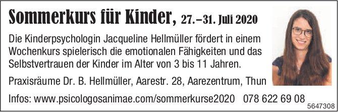 Sommerkurs für Kinder,  27.– 31. Juli 2020, 27. Juli, Praxisraume Dr. B. Hellmüller, Thun,