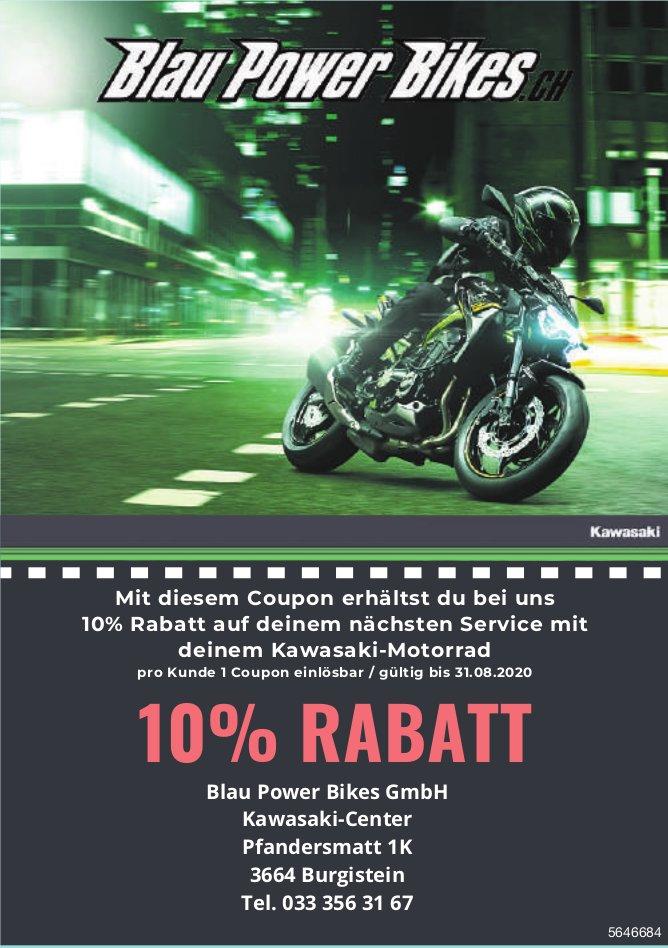 10% Rabatt auf deinem nächsten Service mit deinem Kawasaki-Motorrad - Blau Power Bikes GmbH