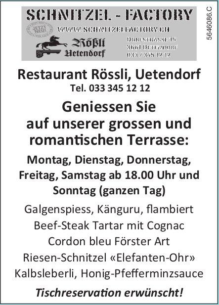 Restaurant Rössli, Uetendorf - Geniessen Sie auf unserer grossen und romantischen Terrasse