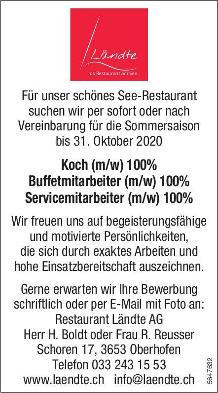 Koch,  Buffetmitarbeiter,  Servicemitarbeiter, Restaurant Ländte AG, gesucht