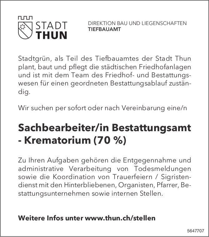 Sachbearbeiter/in Bestattungsamt - Krematorium (70%), Stadt, Thun, gesucht