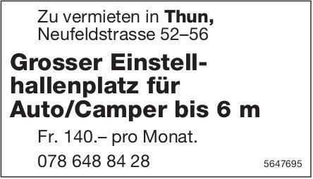 Grosser Einstellhallenplatz für Auto/Camper bis 6 m, zu vermieten