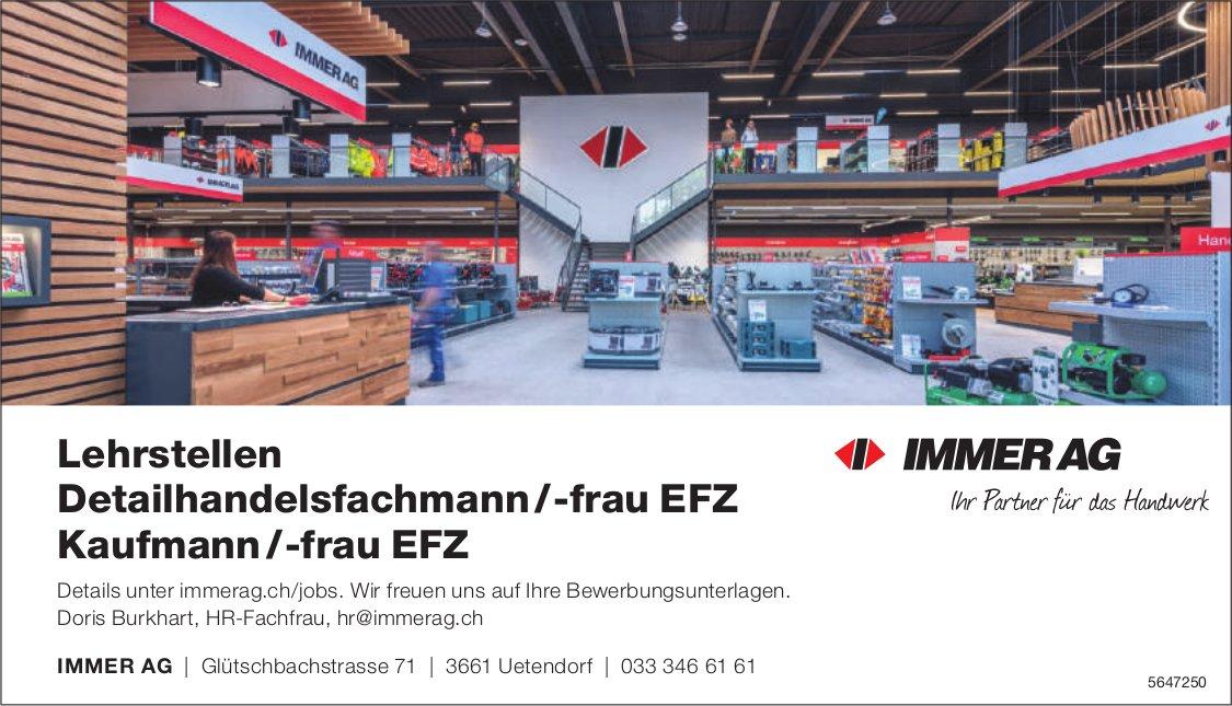 Lehrstellen Detailhandelsfachmann /-frau EFZ, Kaufmann /-frau EFZ, Immer AG, Uetendorf,  zu vergeben