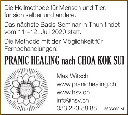 Pranic Healing nach Choa Kok Sui - Nächste Basis-Seminar in Thun vom 11.–12. Juli 2020
