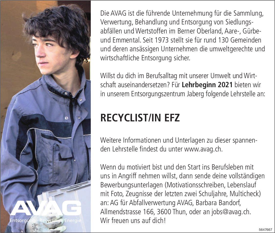 Lehrstelle als Recyclist/in EFZ, AG für Abfallverwertung AVAG, Thun, zu vergeben