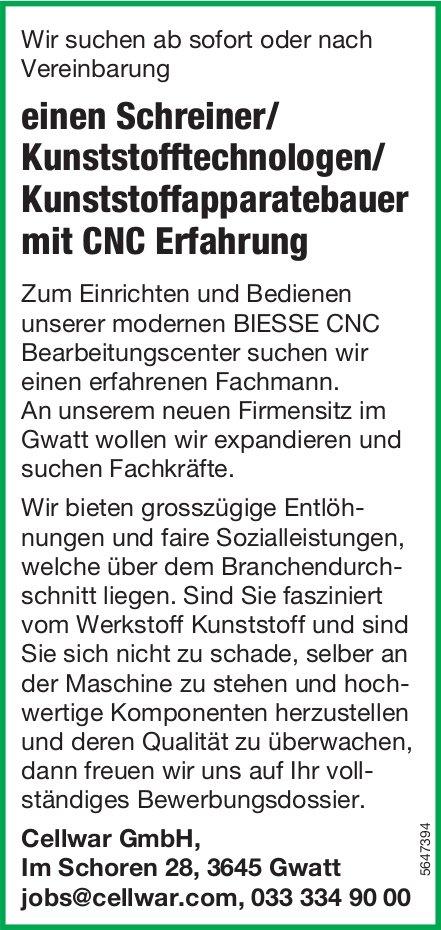Schreiner/ Kunststofftechnologen/ Kunststoffapparatebauer mit CNC Erfahrung, Cellwar GmbH, gesucht