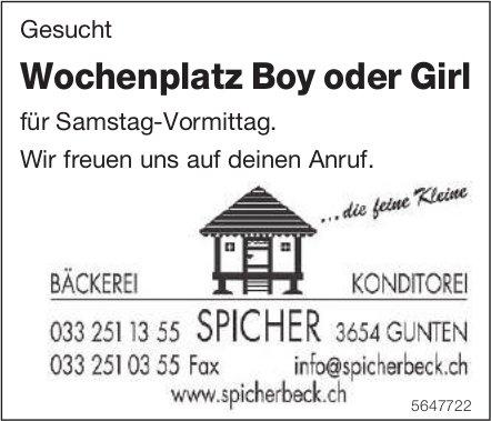 Wochenplatz Boy oder Girl für Samstag-Vormittag, Bäckerei Konditorei Spicher, gesucht
