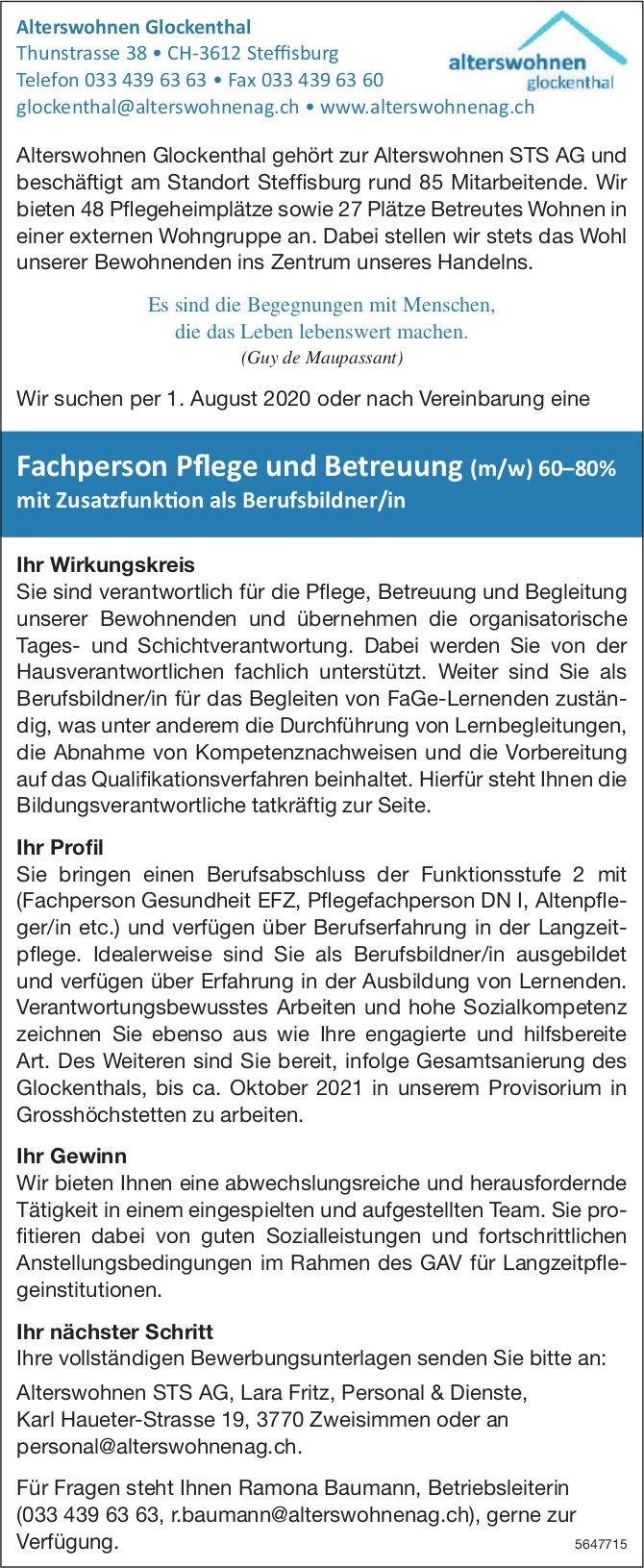 Fachperson Pflege und Betreuung (m/w) 60–80%, Alterswohnen Glockenthal, Steffisburg, gesucht