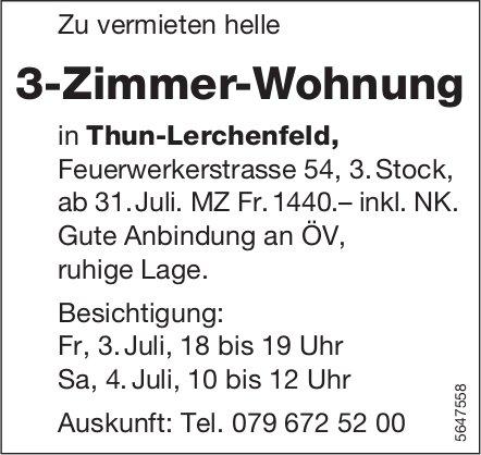 3-Zimmer-Wohnung, Thun-Lerchenfeld, zu vermieten