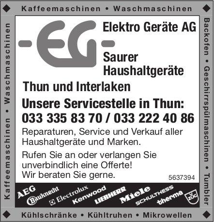 Elektro Geräte AG, Thun und Interlaken - Saurer Haushaltgeräte
