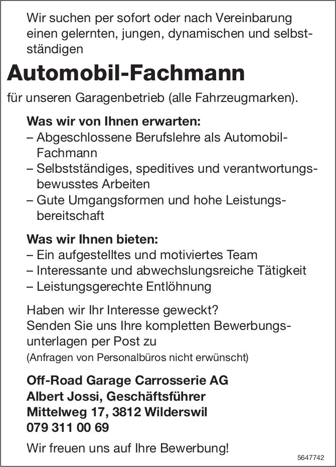 Automobil-Fachmann, Off-Road Garage Carrosserie AG, gesucht
