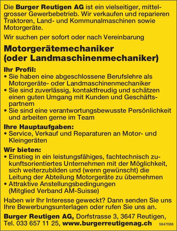 Motorgerätemechaniker (oder Landmaschinenmechaniker), Burger Reutigen AG, gesucht