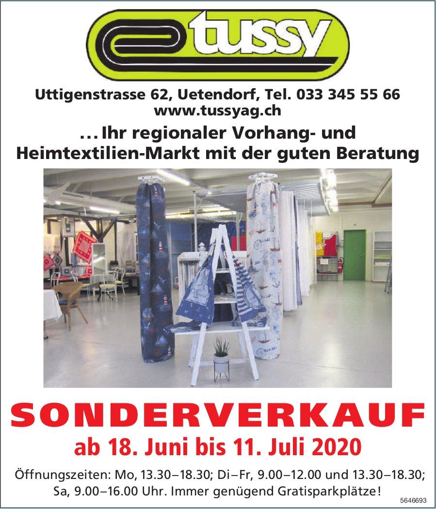 Sonderverkauf bis 11. Juli, Tussy AG, Uetendorf