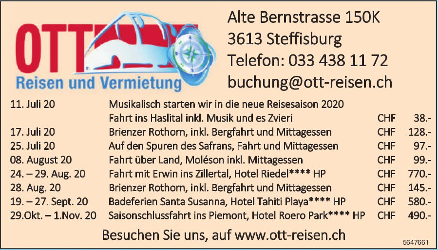 Programm & Events, Ott Reisen
