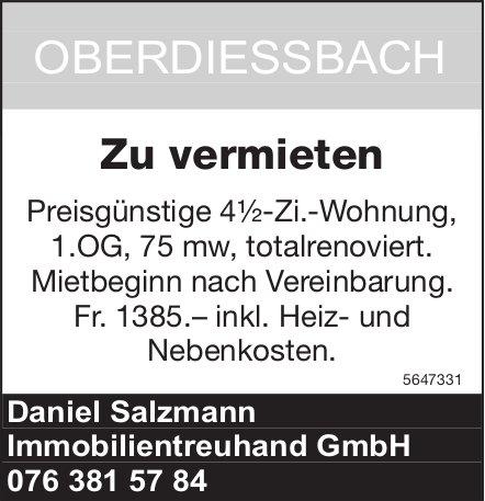 Preisgünstige 4½Zi.Wohnung, Oberdiessbach, zu vermieten