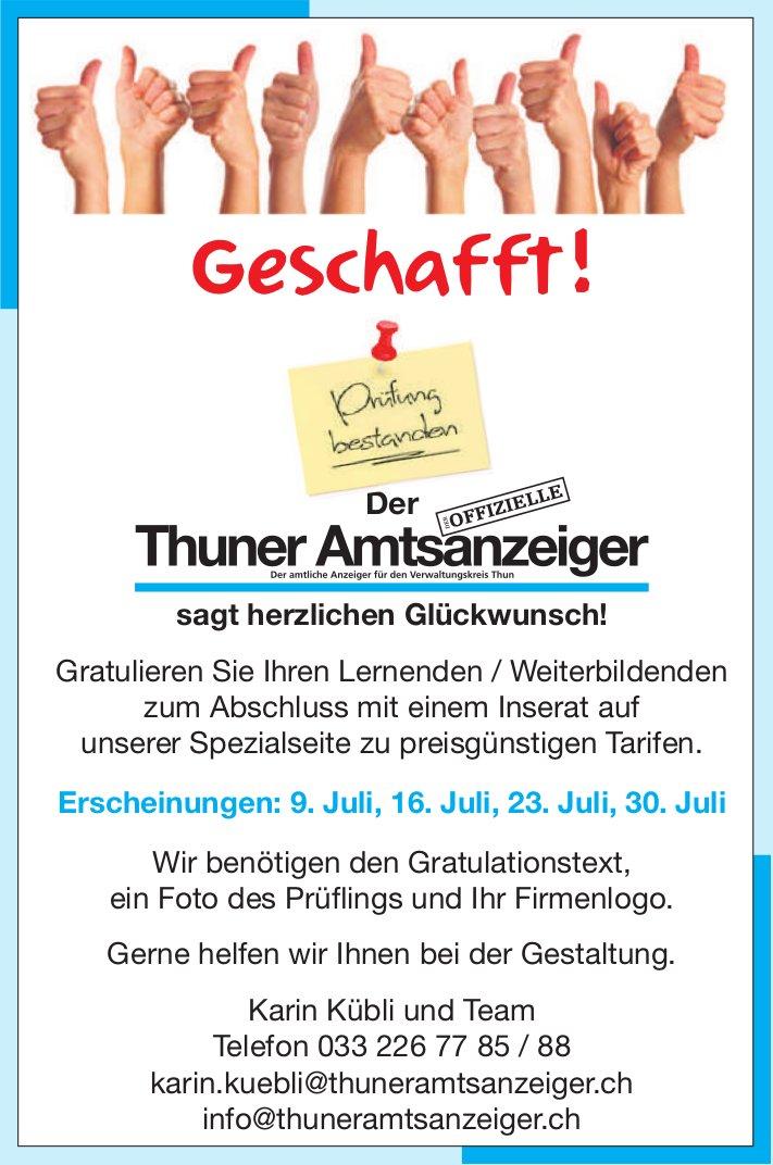 Thuner Amtsanzeiger sagt herzlichen Glückwunsch! Spezialseite zu preisgünstigen Tarifen.