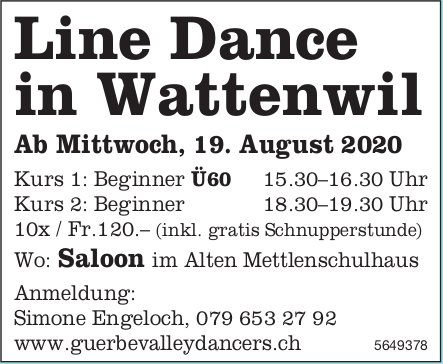 LineDance in Wattenwil, ab 19. August