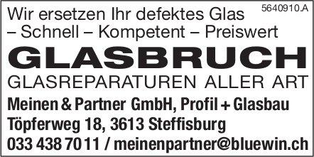 Meinen & Partner GmbH,  Profil +Glasbau, Steffisburg - Glasbruch,  Glasreparaturen Aller Art