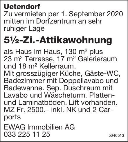 5½-Zi.-Attikawohnung, Uetendorf, zu vermieten