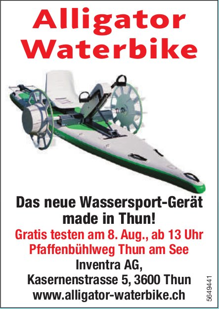 Alligator Waterbike: Das neue Wassersport-Gerät made in Thun! Gratis testen am 8. Aug., Inventra AG