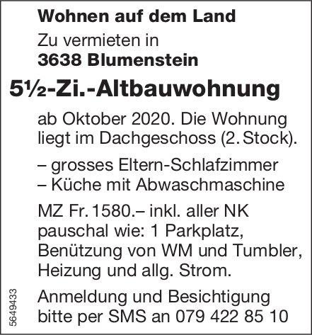 5½-Zi.-Altbauwohnung, Blumenstein, zu vermieten